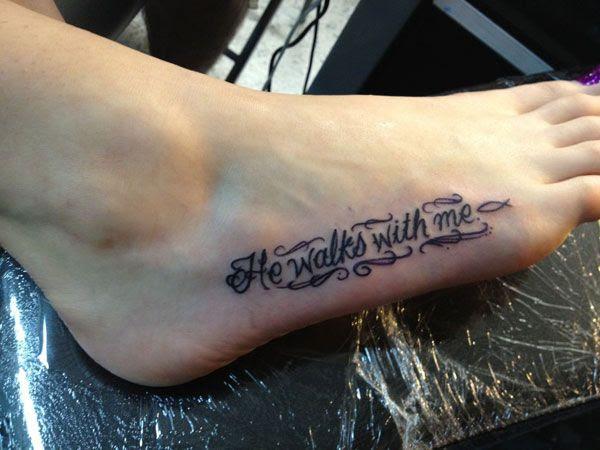 He Walks With Me Girl Tattoo On Foot Tattoomagz