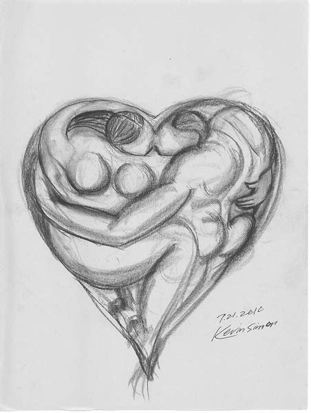 heart  lovers conte pencil  newsprint  sketches
