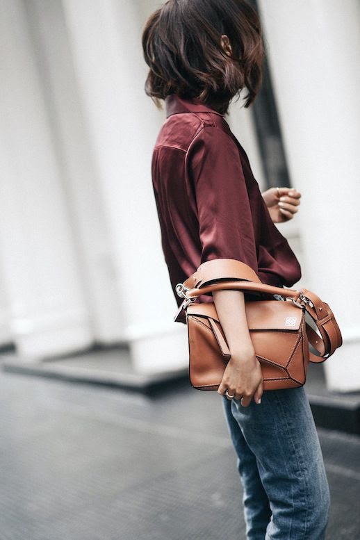 Le Fashion Blog Casual Blogger Style Wavy Bob Burgundy Silk Button Down Shirtt Jeans Camel Loewe Satchel Bag Via Z Hours