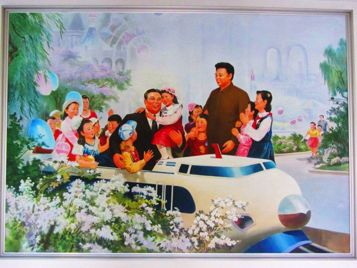 Inside the classroom of the school was a billboard of Kim Il Sung, the former supreme leader of the country.