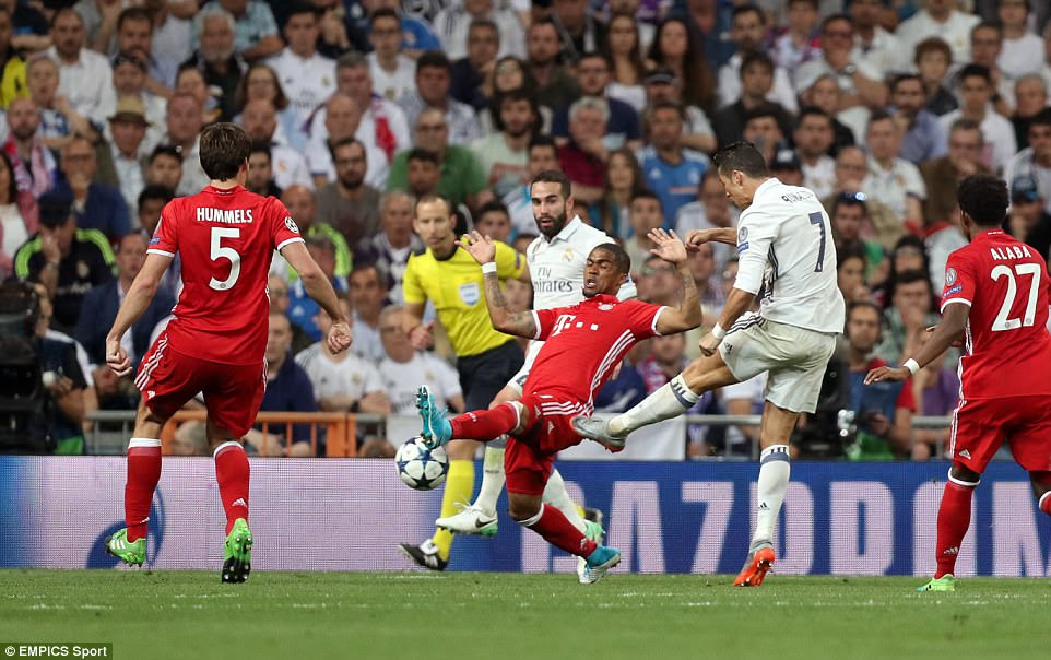 Ronaldo volleyed home to leave 10-man Bayern with an uphill task in extra time but he was shown to be in an offside position