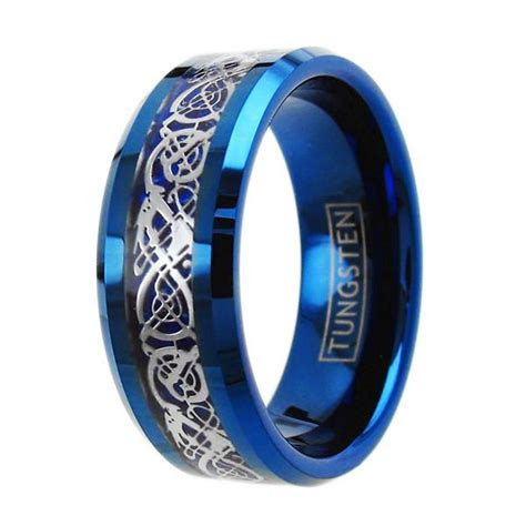 Silver Celtic Dragon on Blue Tungsten Ring. Wholesale