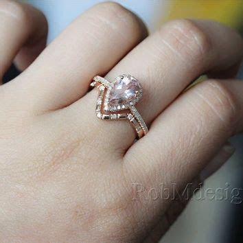 14K Rose Gold 2pcs Morganite Engagement Ring Set Pear