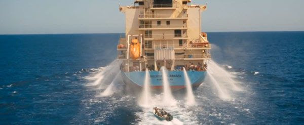 Water hoses aboard the Maersk Alabama are activated to thwart Somali pirates from approaching the cargo ship in CAPTAIN PHILLIPS.