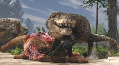 <p>Recreación de<em>Razanandrongobe sakalavae</em>devorando a otro dinosaurio durante el periodo Jurásico en Madagascar / Giovanni Bindellini</p>