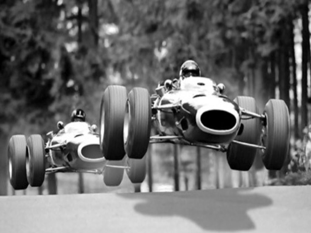 BRM teammates Jackie Stewart and Graham Hill achieving liftoff in 1966