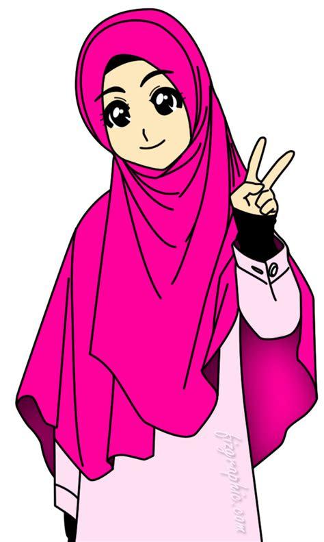share  ika gambar kartun muslimah