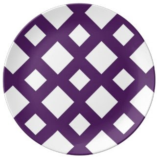 Purple Lattice on White Porcelain Plates