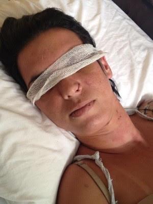 Operadora de caixa Mara Rúbia Guimarães teve os olhos perfurados pelo ex-marido, em Goiânia, Goiás (Foto: Arquivo pessoal)
