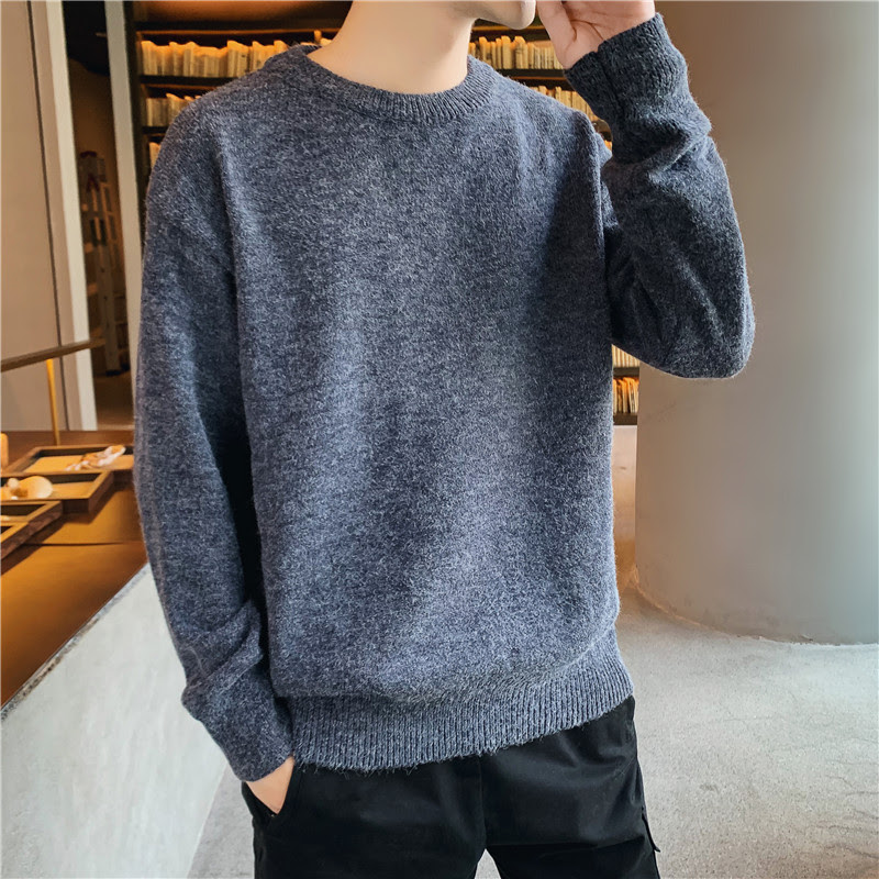 Men Sweater 2019 Winter Trend New Fashion Mens Pullover Sweaters Casual Retro Loose Bottoming Warm Sweater