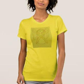 Yellow Awareness Ribbon Angel Custom Art T-Shirt