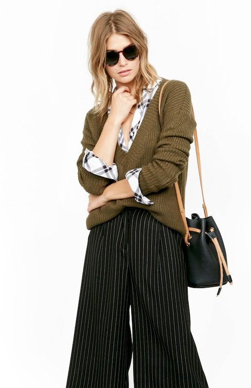 Le Fashion Blog Fall Officewear Tortoise Round Sunglasses V Neck Olive Pullover Plaid Button Down Shirt Leather Cinch Bucket Bag Black Striped Culottes Work Style Via Daily Look