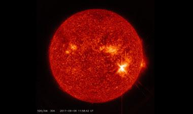 <p>Potente llamarada solar captada este miércoles desde elSolar Dynamics Observatory de la NASA. / NASA/Goddard/SDO</p>