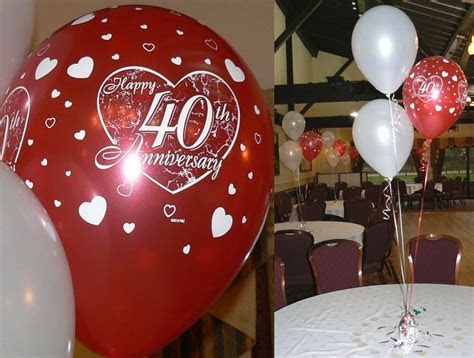 ruby  wedding anniversary balloons  table