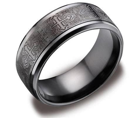 2019 Popular Black And Silver Men's Wedding Bands