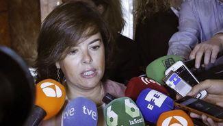 Soraya Sáenz de Santamaría, aquest matí, carregant contra els dirigents independentistes (EFE)