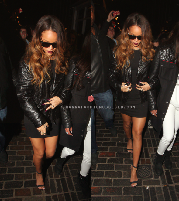 After debuting her clothing line at London Fashion Week, Rihanna went out and partied with model Cara Delevinge along side her longtime best friend Melissa Forde at The Box in London wearing one of her dresses she designed forRihanna for River Island that is set to launch next month. Rihanna completed her look with a pair of Manolo Blahnik sandals, Kentshire diamond necklace including a black jacket by Trapstar. Update: Rihanna has on RetroSuper'sClassic Francissunglasses — credit to our friend over at Haus of Rihanna.