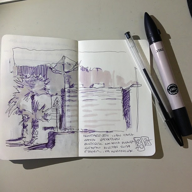 Hondarribi sketch- bic & tria pantone marker
