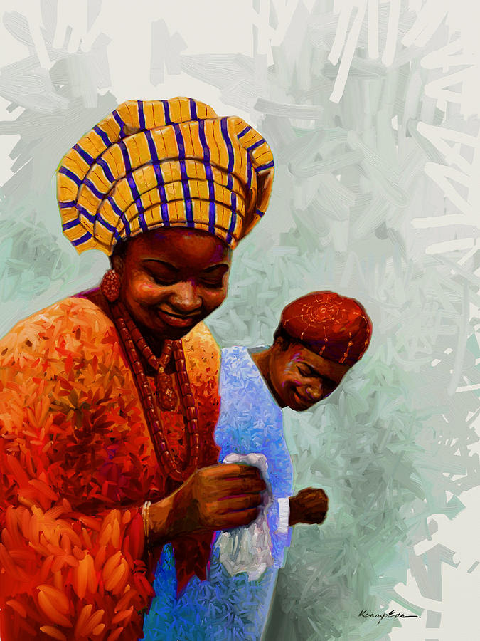 Dancing Time - Colorful African Couple Dancing  Painting