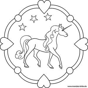 Pegasus und Einhorn als kostenlose Mandalas f\u00fcr Kinder