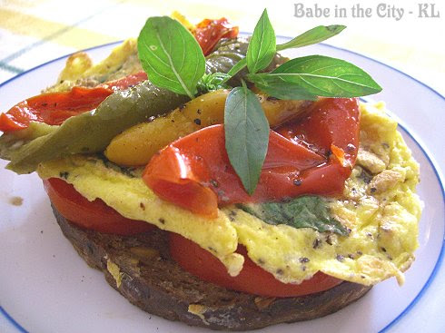 Basil Omelette and Roasted Peppers Open Sandwich