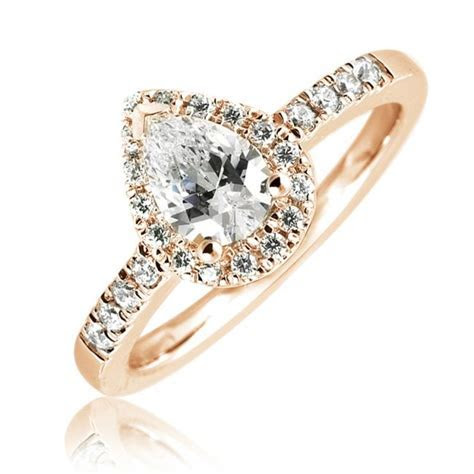 Mazal Diamond : Pear Shaped Halo Engagement Ring with