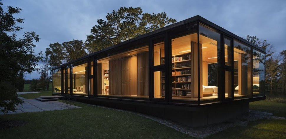 Steel Frame Sustainable Weekend House with All-glass Facade ...