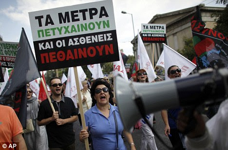 Protests in Greece over cut backs. The crisis in the eurozone with desperate attempts to prop up the Greek economy has led to a surge in anti-Brussels feeling