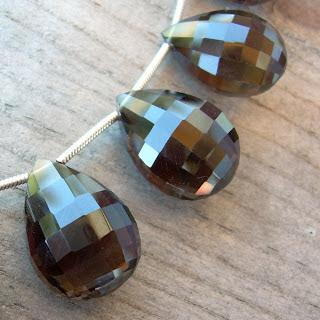smoky quartz briolettes