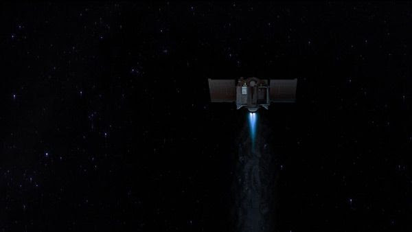 An artist's concept that shows OSIRIS-REx firing its main engines in deep space.