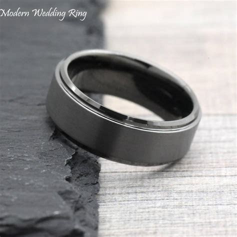 Dark Grey Wedding Band, Gunmetal Color Men's Wedding Band