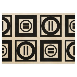 Black Geometric Equal Sign Pattern Wood Poster