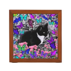 Freckles in Butterflies III, Tux Kitty Cat Pencil/Pen Holder