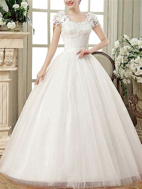 White Scoop Ball Gown Embroidery Dress for Wedding On Sale