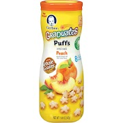 Gerber Graduates Puffs Cereal Snack, Peach - 1.48 oz canister