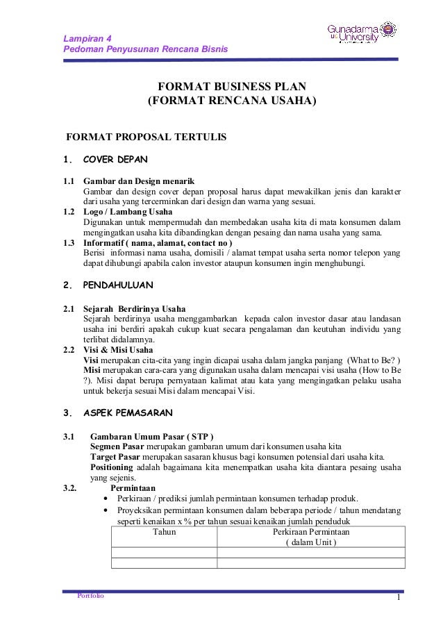 Contoh Cover Proposal Business Plan