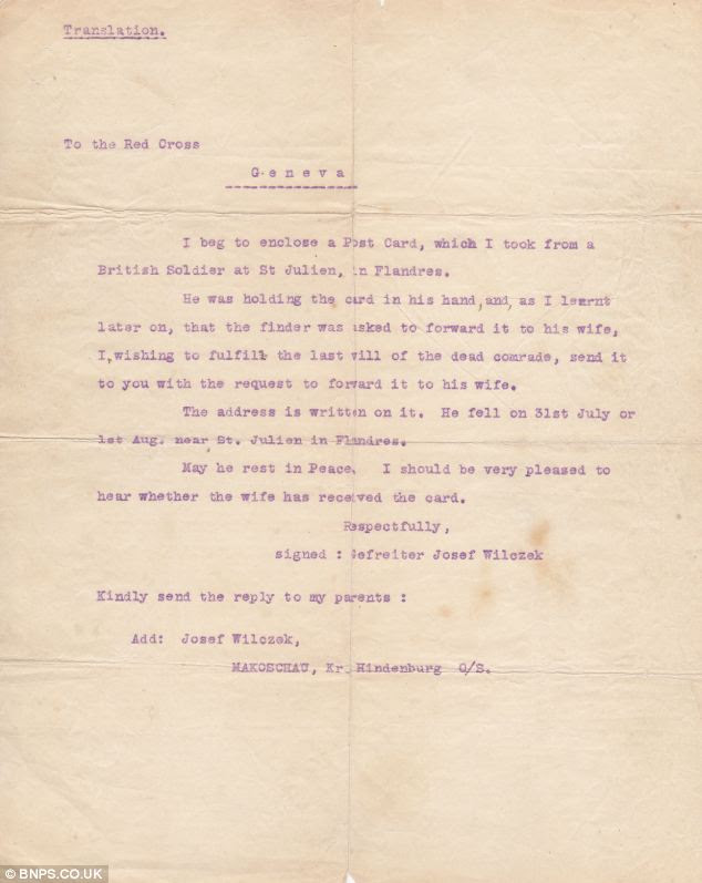 A translation of the letter sent by Gefreieter Josef Wilczek to the Red Cross