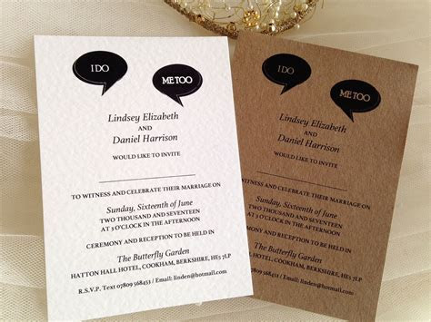 I Do, Me Too Wedding Invitations   Wedding Stationery