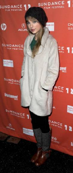 Taylor Swift wearing Kymerah Coat at Sundance Film Festival