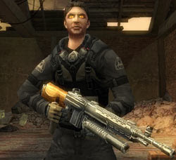 Game hero Grayson in infected mode in 'Resistance: Retribution'