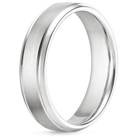 6mm Beveled Edge Matte Wedding Ring with Grooves in Platinum