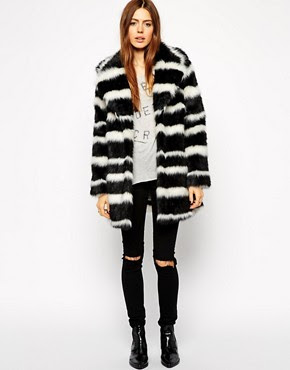 Image 4 of ASOS Faux Fur Coat in Mono Stripe