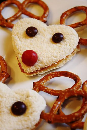 Reindeer sandwiches!  So Cute!