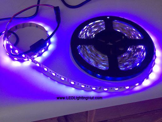 365nm UV (Ultraviolet) LED Light Strip, 60/m, 12V, 5m Reel
