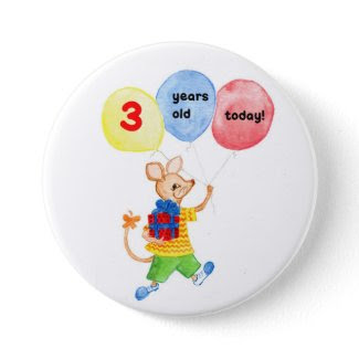 'Little Mouse' 3rd Birthday button button