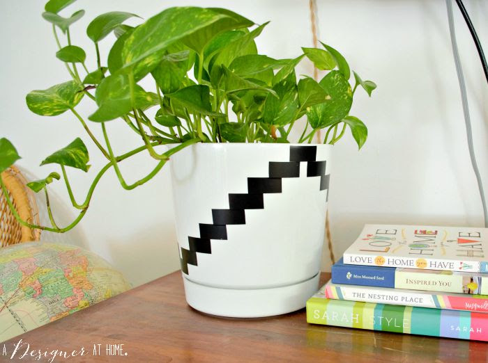 black and white kilim inspired planter