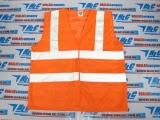 Áo phản quang 3M loại tốt, vải lưới màu cam, 2 sọc ngang 2 sọc vắt vai xám - MK
