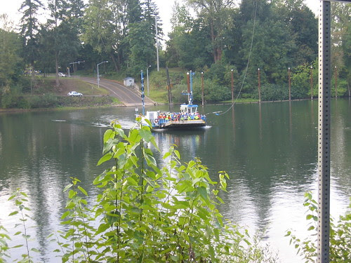 Canby Ferry headed our way, across the Willamette