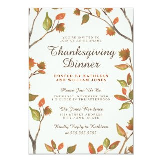 Autumn Leaves Thanksgiving Dinner 5x7 Paper Invitation Card
