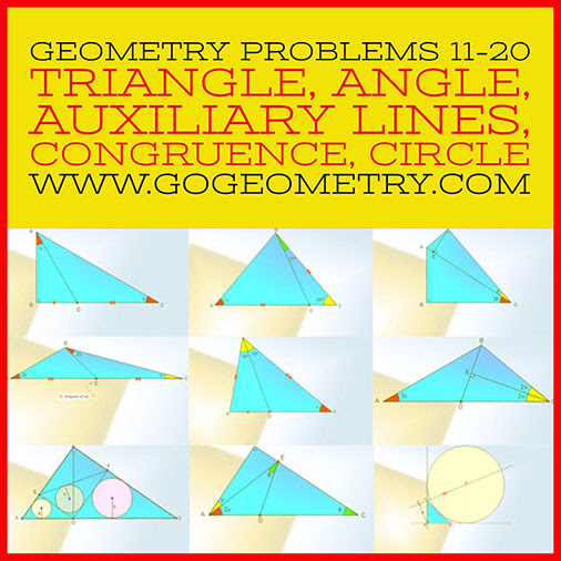 Geometric Art: Problems 11-20, Triangle, Angles, Auxiliary Lines, Congruence, Circle, Typography, iPad Apps.
